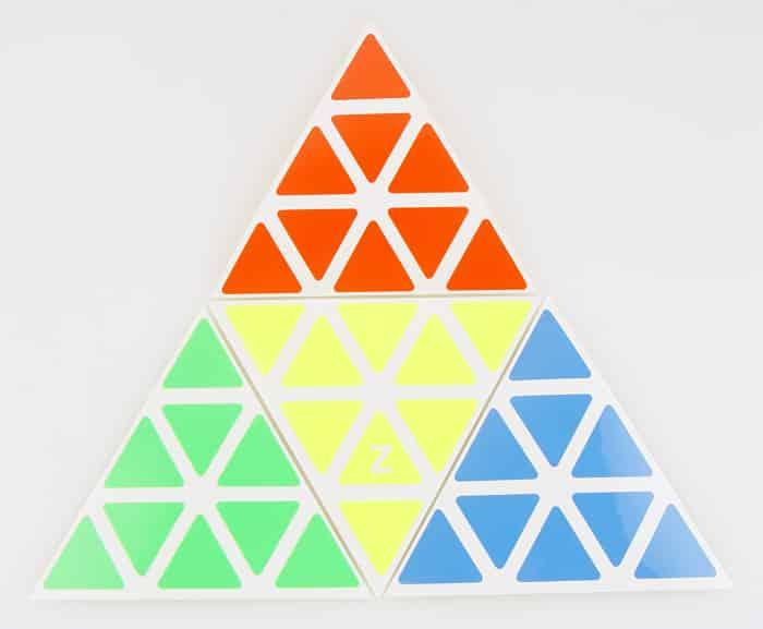 Z貼聖手金字塔 pyraminx 普亮高亮配4色四色 魔術方塊貼紙 PVC 速解
