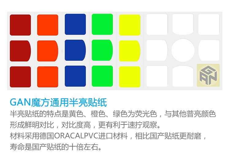 FO gan 魔方專用通用貼紙 全亮C 半亮 三階 air supersede SS 速解 3階 原廠高級貼