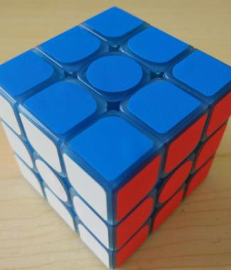 Z-cube 布紋條 三階 夜光藍色 透明 魔術方塊 z cube 3階 有貼紙 特殊方塊