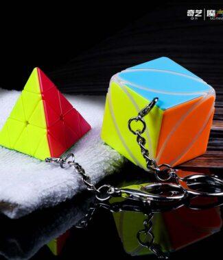 楓葉 金字塔 鑰匙圈 奇藝 異形 魔術方塊 魔方格 磨砂面 魔方 速解 益智玩具 鑰匙扣